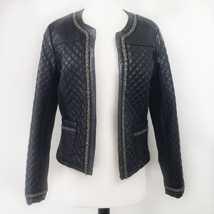 Lapis Quilted Ribbed Vegan Leather Jacket w Metal